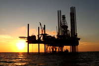 Offshore Drilling Rig in the Gulf of Mexico at Sunset_7843